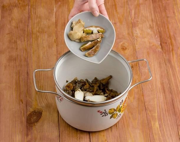 1. Возьмите все грибы, которые планируете использовать по рецепту приготовления солянки с лимоном. Вымойте, очистите, обсушите. Сушеные грибочки замочите предварительно минут на 15. Выложите все в кастрюлю.