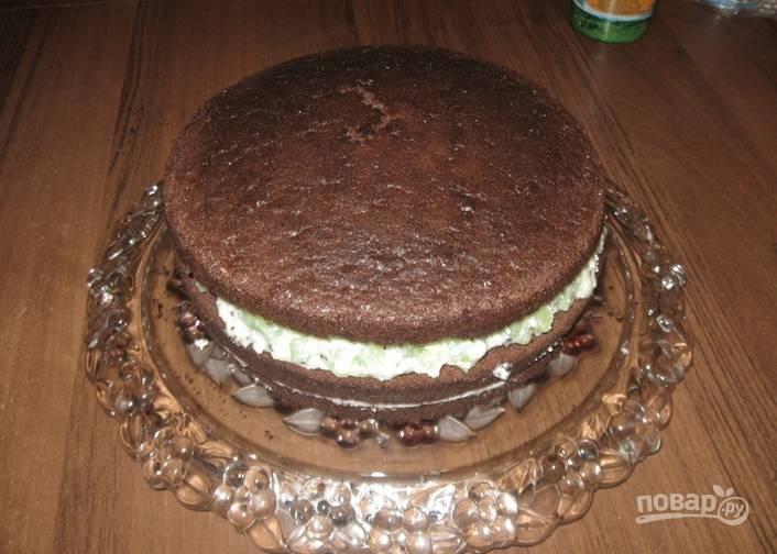 5. Вот такая получится красота. Осталось только украсить и настоять наш тортик!