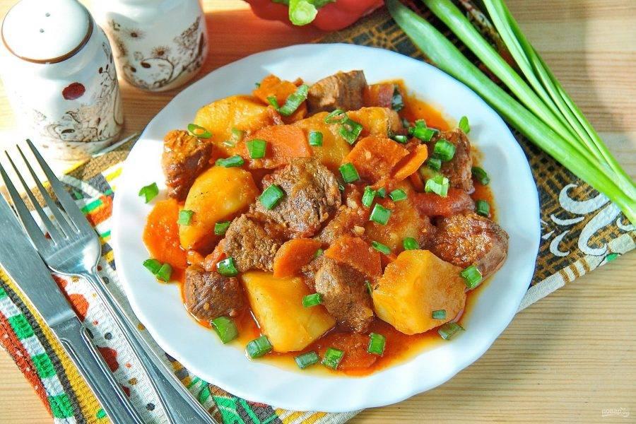 8.Подавайте готовое жаркое из говядины с зеленым луком сразу же, пока блюдо горячее и ароматное. Приятного аппетита!
