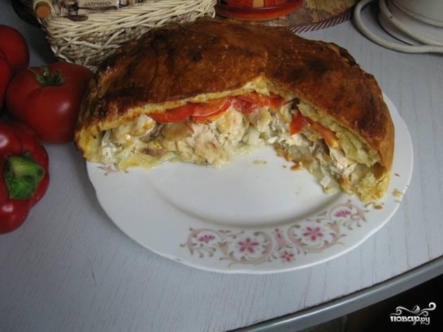 Пирог с грибами закрытый