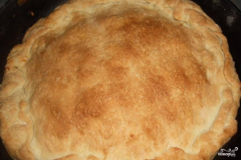 Ставим пирог в разогретую до 200 градусов духовку и запекаем в течение 20 минут. Теперь наш пирог готов и мы можем снимать пробу.