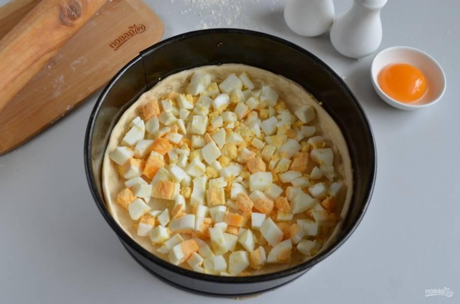 Застелите форму бумагой, смажьте растительным маслом. Уложите тесто, придавите бортики к краю формы. Порубите крупно вареные яйца, равномерно распределите их по тесту.