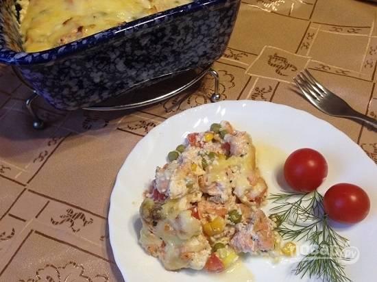 Подавать можно с гарниром из риса, картофеля или просто со свежими овощами.