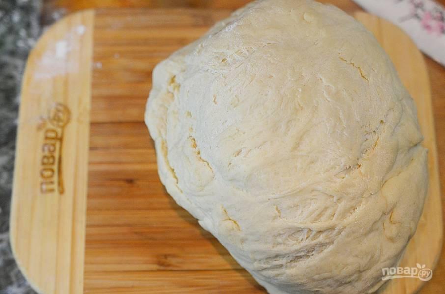 Просейте муку с солью, замесите тесто. Накройте и уберите в теплое место на 1 час.