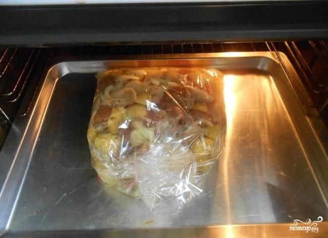 Разогрейте духовой шкаф до 200 градусов. Рукав плотно скрепите. Уберите блюдо запекаться на 40 минут.