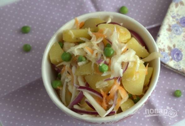 Картофельный салат с квашеной капустой