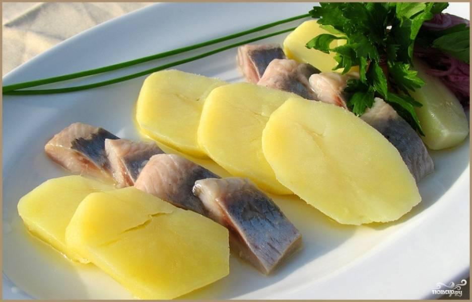 Картофель нарезаем пластинами, выкладываем на блюдо к рыбе, украшаем свежей зеленью и подаем к столу.