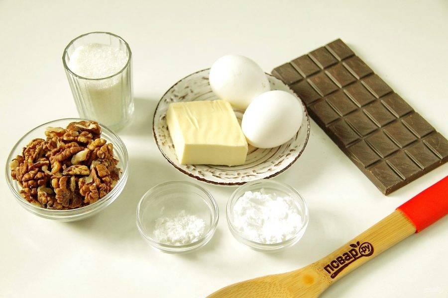 Подготовьте все ингредиенты. Сливочное масло заранее достаньте из холодильника и размягчите при комнатной температуре.