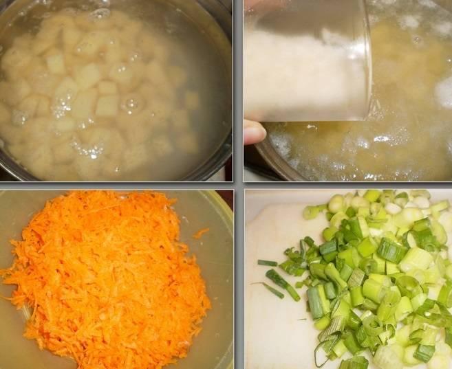 Зеленый лук мелко режем, морковь натрем на терке. Опустите картофель в кипящую воду. Промойте рис и добавьте в кастрюлю. Варим 15-20 минут.