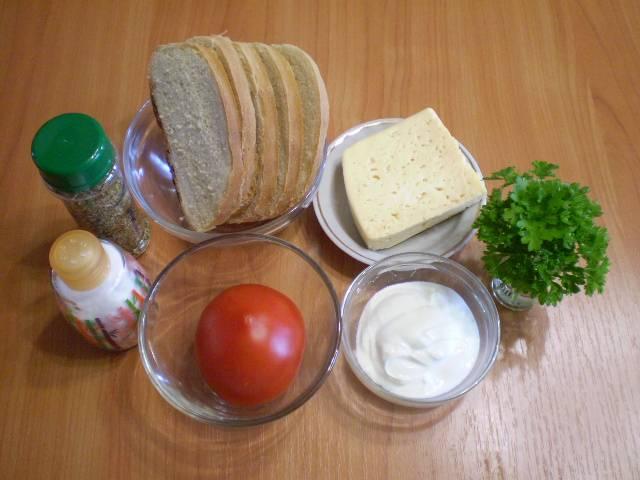 1. Приготовим продукты для бутербродов. Белый хлеб можно заменить черным.