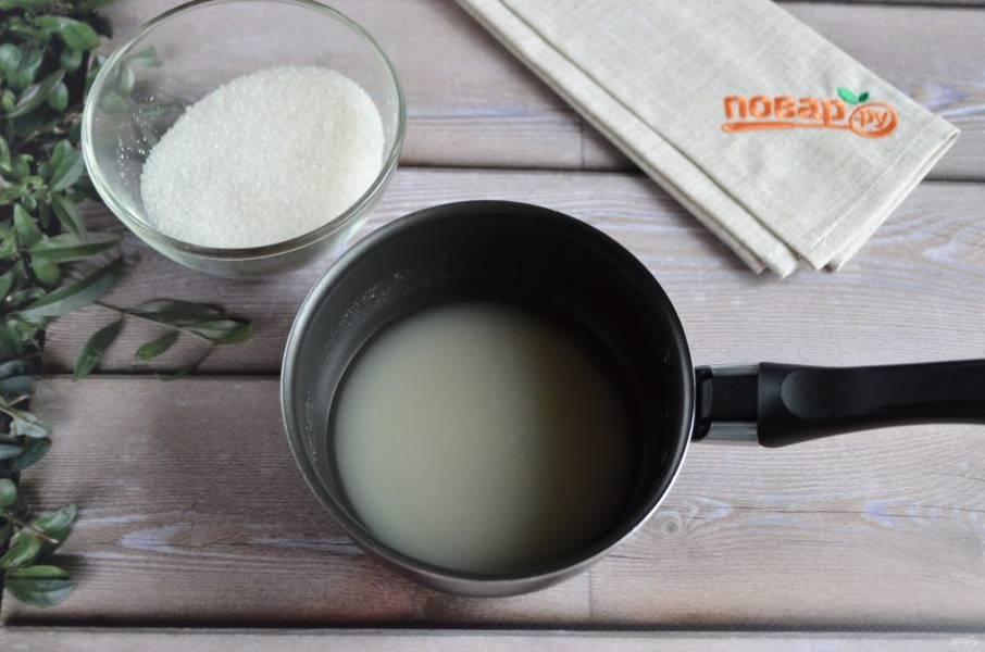 6. Доведите до кипения агар-агар, положите оставшийся сахар.
