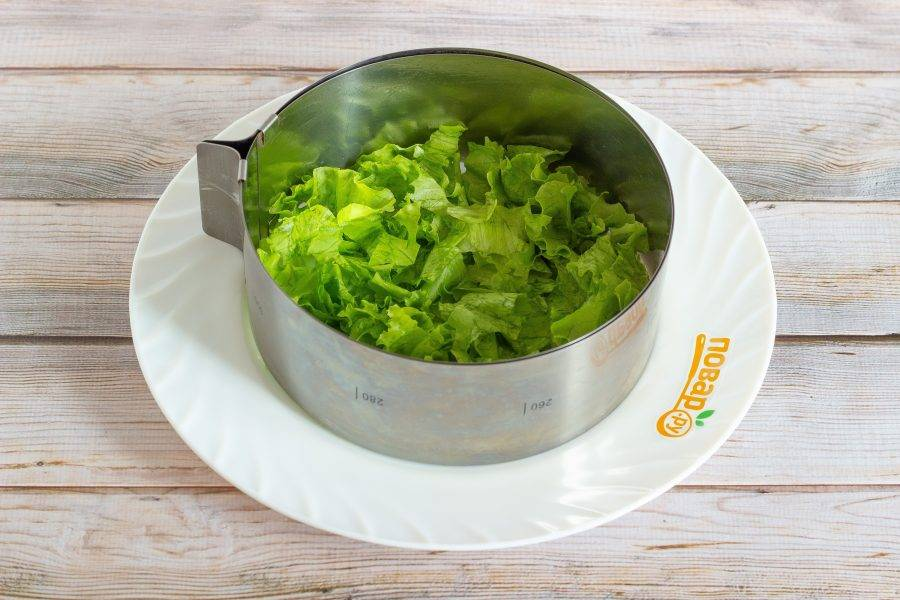 Я формировала салат с помощью кулинарного кольца диаметром 16 см. Можно сделать салат в прозрачном салатнике. Листья салата помойте, немного обсушите, нарвите и выложите первым слоем салата.