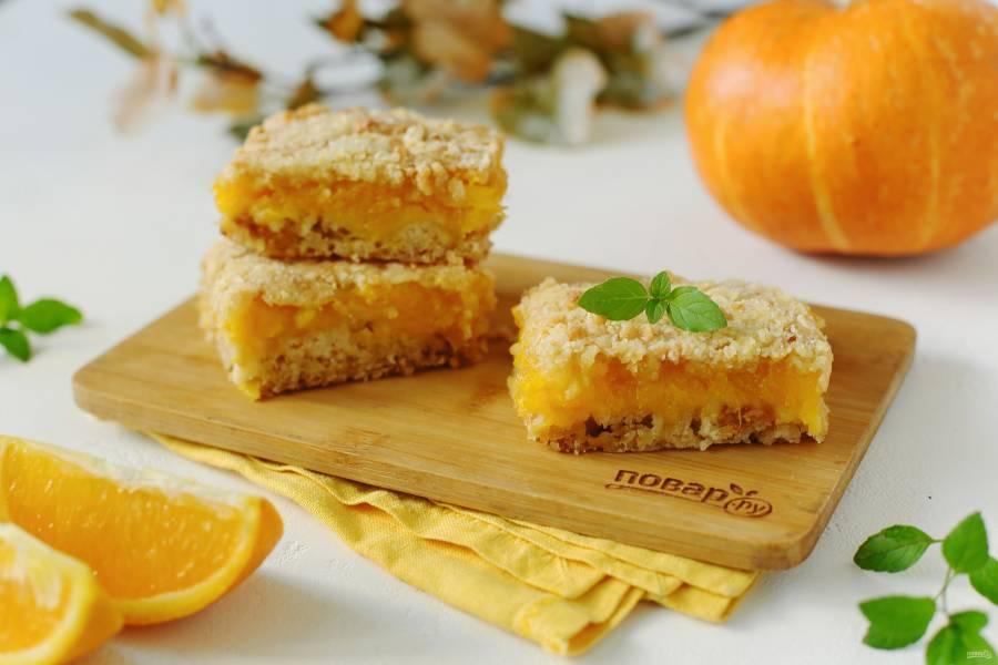 Насыпной пирог с тыквой и апельсином