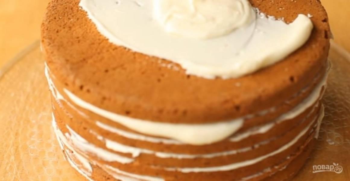 4. Приготовьте крем: сметану, сахар и творог взбейте миксером до однородности. Соберите торт: каждый корж смажьте кремом и выложите друг на друга. Бока и верх торта также смажьте кремом.