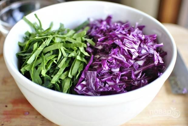 1. В глубокий салатник нашинкуйте капусту и шпинат.