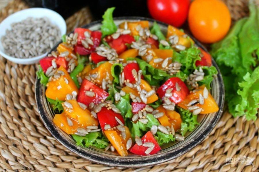 Салат с помидорами и горчицей  готов. Ешьте на здоровье!