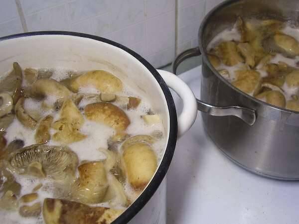 Теперь пришло время отварить грибы в достаточно соленой воде с добавлением перца горошком и лаврового листа. Варить 30 минут после закипания.