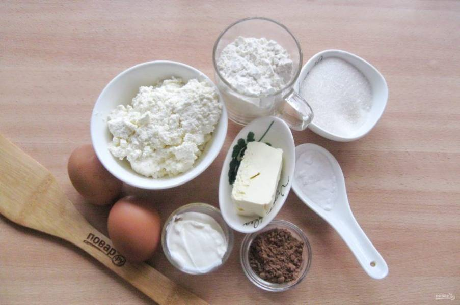 Подготовьте ингредиенты для приготовления двухслойного пирога.