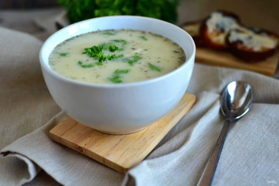 Разлейте по тарелкам, посыпьте зеленым луком и подавайте горячим  с сырными гренками.