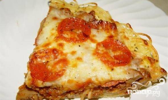 Пирог из спагетти и говяжьего фарша