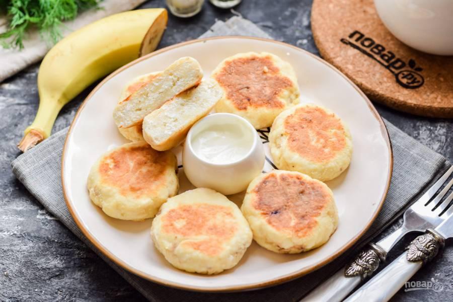 Сырники с бананом без яиц
