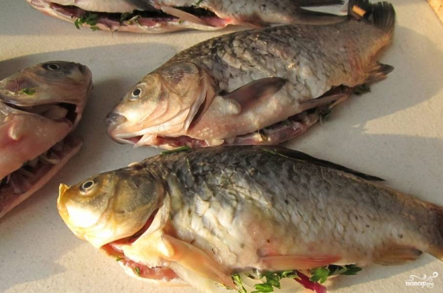 Мелко нарубите петрушку и лук, посолите, поперчите по вкусу и сложите в брюшко рыбы.