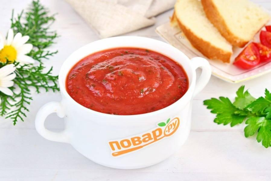 Взбейте овощи с помощью блендера до состояния пюре. Влейте бульон, доведите суп-пюре до нужной густоты. Приятного аппетита!