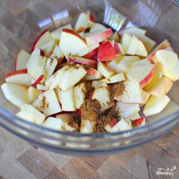 Яблоки очищаем от сердцевин, нарезаем на небольшие ломтики. Кладем в миску, посыпаем корицей и хорошенько перемешиваем.