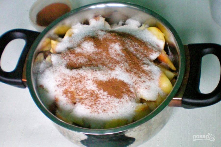 Добавляем сахар и корицу. Ставим кастрюлю с фруктами на минимальный огонь.
