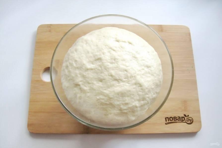 Миску с тестом накройте полотенцем или пищевой пленкой, поставьте в теплое место. Через 40-60 минут оно увеличится в объеме. Тесто обомните и дайте ему подойти второй раз.