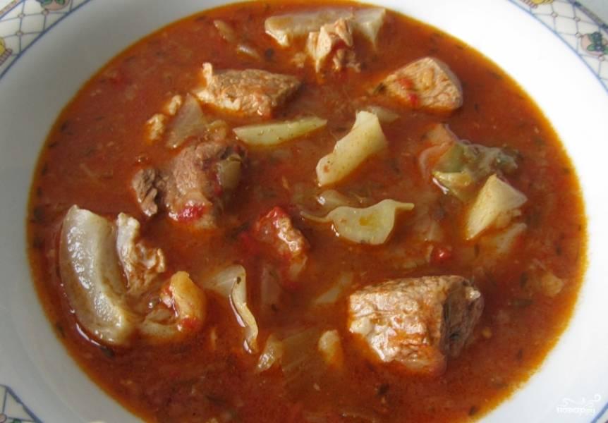 Ваш томатный суп с капустой и мясом готов! Перед подачей можете украсить зеленью.