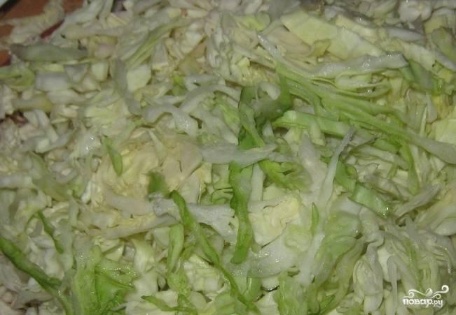 Капусту помойте, удалите верхние листы, нашинкуйте соломкой. Отправьте капусту в кастрюлю к овощам, всыпьте хмели-сунели, соль, перец.