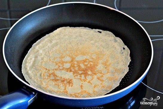3.Наклоняем сковороду на весу в разные стороны, чтобы тесто покрыло равномерным тонким слоем дно. Ставим сковороду на огонь и ждем, пока края блина на одной стороне  станут  золотистого цвета  и отступят  от поверхности.