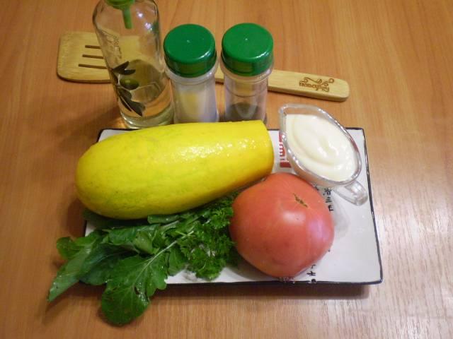 Приготовим продукты. Кабачок берите молоденький, чтобы семена не были выражены. Все тщательно вымойте.