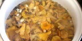 Отваренные грибы откиньте на дуршлаг и промойте холодной водой. Затем опустите лисички в маринад и варите 15-20 минут.