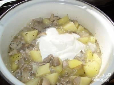 Добавляем сметану и тушим на маленьком огне до готовности картошки. Пробуем на вкус, при необходимости досаливаем.