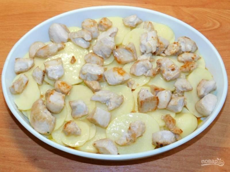 На зажарку выложите нарезанный кружочками картофель и обжаренное мясо. Добавьте соль и специи по вкусу.
