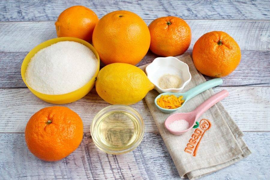 Подготовьте необходимые продукты. Лимонную кислоту разведите в воде. Цитрусовые вымойте. Агар-агар замочите в 1/2 стакана горячей воды, размешайте.