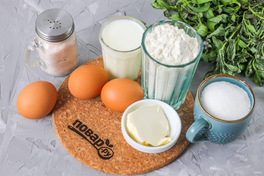 Подготовьте указанные ингредиенты. Молоко можно использовать любой жирности и любого сорта. Особенно ароматным получается бисквит на кокосовом молоке.