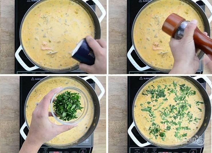 4. Приправьте похлебку солью и перцем по вкусу, украсьте свежей зеленью.
