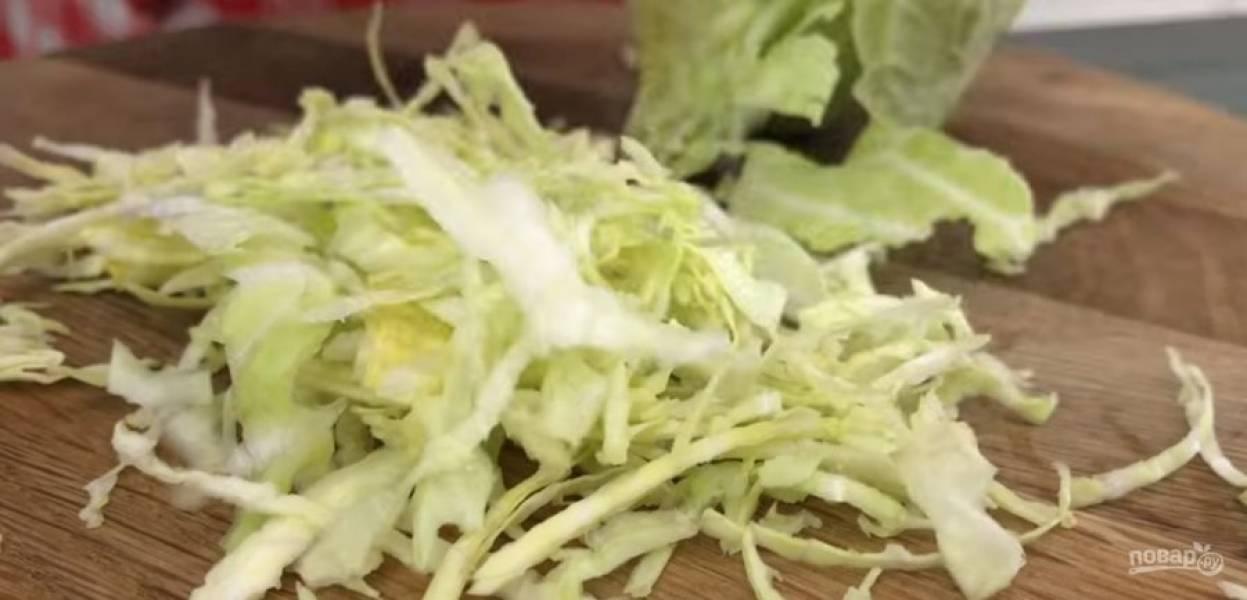 1. Капусту мелко нашинкуйте, зелень мелко нарубите. Сочную морковь натрите на мелкой терке и добавьте к капусте.