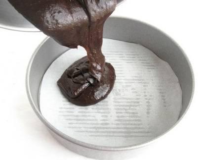 3. Вылейте тесто в застеленную пергаментом или смазанную маслом форму для запекания.