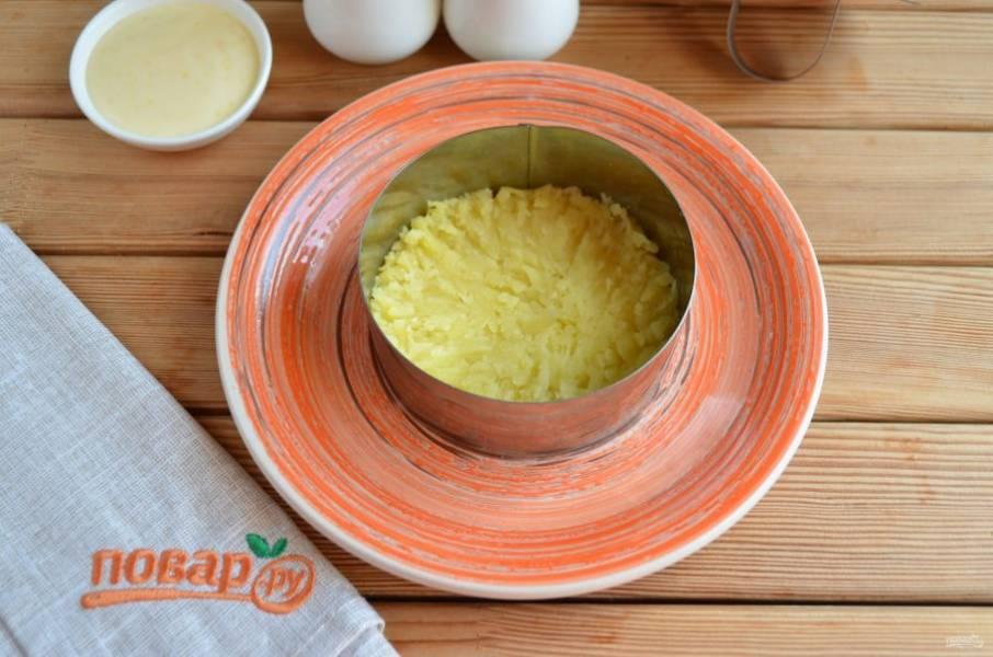 Натрите картофель на крупной терке. Салат собирается слоями, каждый слой нужно смазать майонезом, соль и перец используйте по вкусу. Первый слой — картофельный.