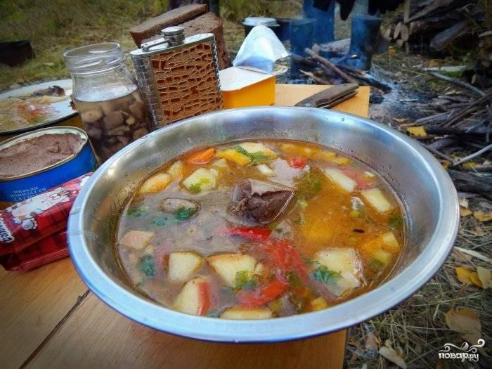 Прокипятите суп 20 минут. Добавьте лавровый лист и соль. В конце добавьте нарубленную зелень. Готовьте ещё 5 минут. Приятного аппетита!