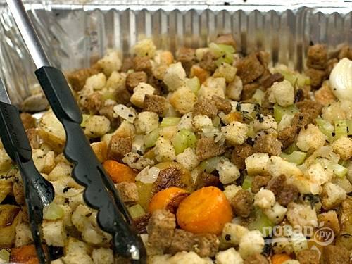7. Запекайте оставшуюся смесь овощей с курицей 20 минут при 200 градусов.