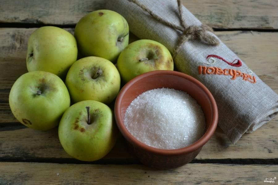 """Подготовьте все необходимые ингредиенты. Яблоки можете брать абсолютно любые. У меня на пастилу идут яблоки """"не кондиция"""", которые я не кладу в вазу с фруктами. Обычно из слегка порченых яблок я делаю компот, а теперь еще и пастилу."""