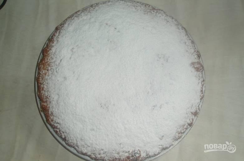 Кекс остудите и присыпьте сахарной пудрой.