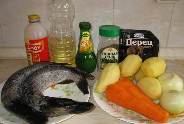 3. Итак, готовим овощи и рыбу. Для начала чистим и потрошим щуку. Затем обжариваем лук и морковь на растительном масле.