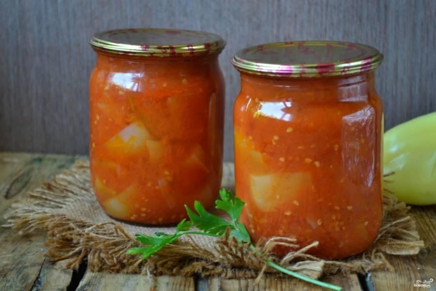 Перец в томатном соке на зиму готов! Храните в темном прохладном месте.
