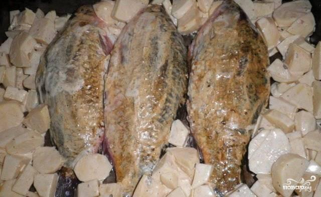 Противень смазываем подсолнечным маслом и в центр выкладываем карасей, картофель раскладываем по бокам. Ставим в разогретую до 180 градусов духовку и запекаем до золотистой корочки. Обычно на это уходит 30-40 минут, но рыбу и картофель обязательно надо проверить на готовность, проткнув их зубочистками. Готовое блюдо выкладываем на тарелки и наслаждаемся замечательным вкусом.